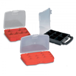 PLASTIC ORGANIZER WITH DIVIDERS 12 SECTIONS RED